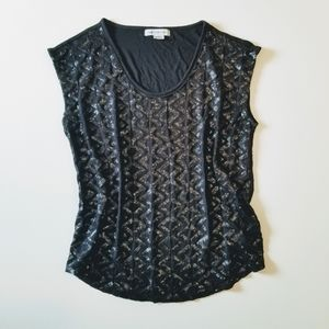 2/$12 Liz Claiborne Sleeveless Blck Sequin Top EUC